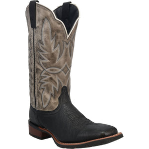 "'Laredo' Men's 13"" Isaac Western Square Toe - Black / Grey"