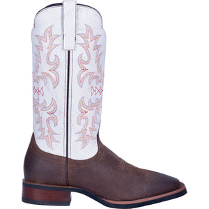 "'Laredo' Men's 13"" Linden Western Square Toe - Chocolate / White"