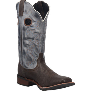 "'Laredo' Men's 13"" Taylor Western Square Toe - Chocolate / Blue"