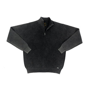 'F/X Fusion' Men's Baby Thermal 1/4 Zip Pullover - Black