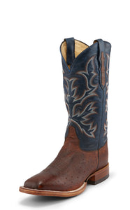 "'Justin' Men's 13"" Hillel Smooth Ostrich - Antique Saddle Brown / Midnight Navy"