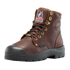 "'Steel Blue' Men's 6"" Argyle Zip EH Int Met Guard Safety Toe Bump - Brown"