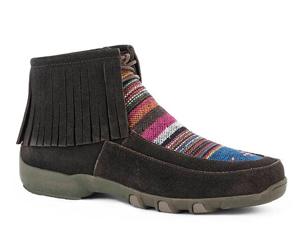 Santa Fe Driving Moccasin Fringe - Brown / Multi Serape
