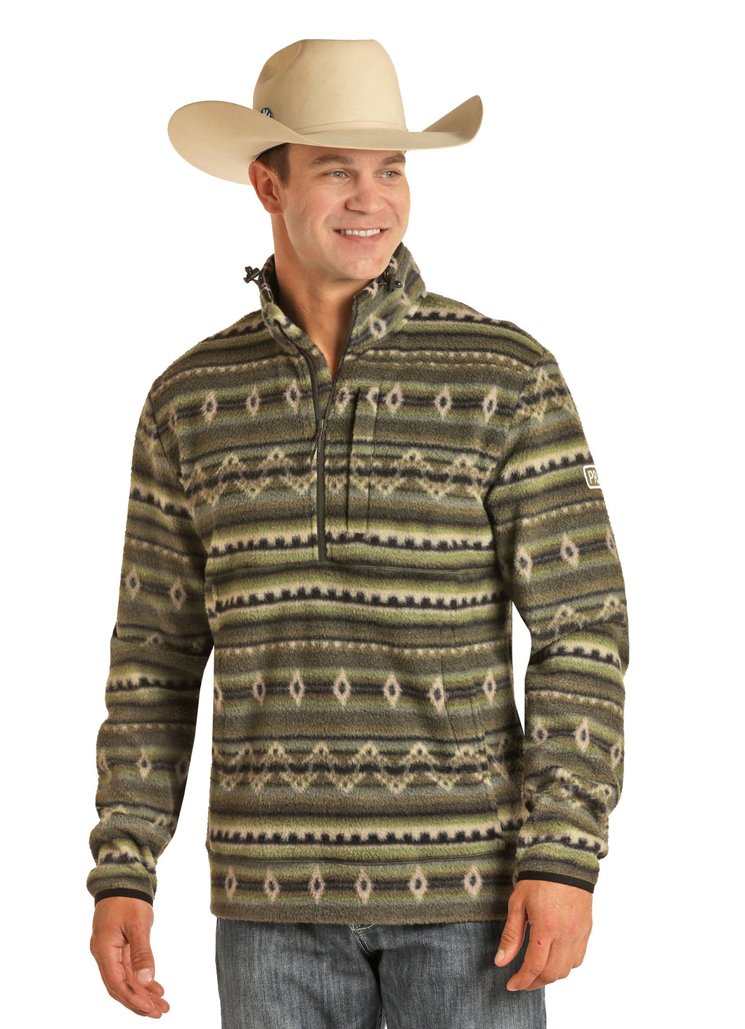 'Powder River' Men's 1/4 Zip Fleece Pullover - Green Aztec