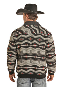 'Powder River' Men's Aztec Wool Bomber Jacket - Grey / White