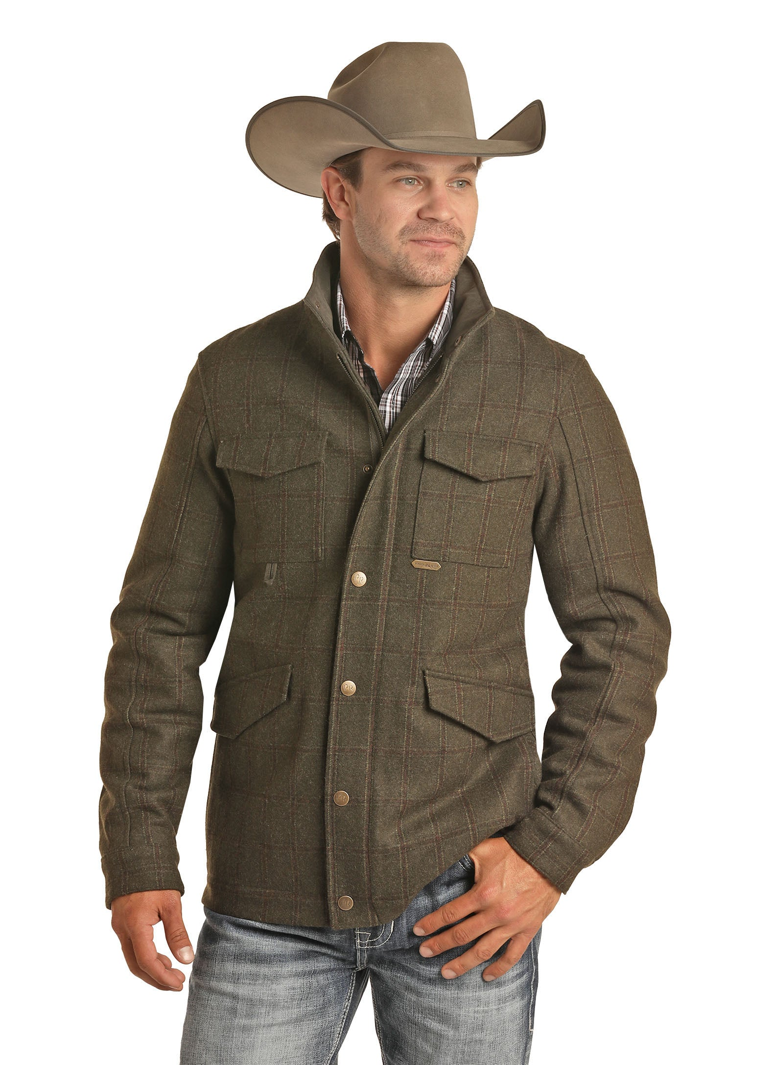 'Powder River' Men's Heather Plaid Wool Jacket - Olive Heather (Ext. sizes)