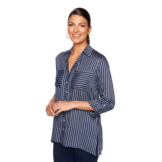 'Ruby Rd.' Coastal Stripe Button Front - Chambray / Navy