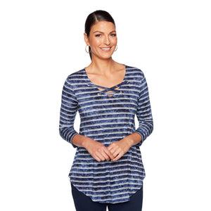 'Ruby Rd.' 94177 419 - 3/4 Sleeve Stripe Knit Top - Navy / Alabaster