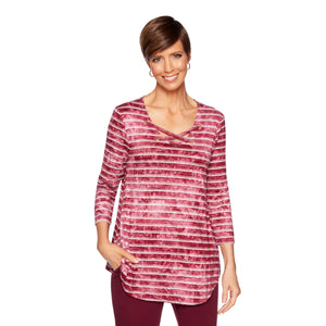 'Ruby Rd.' 94177 937 - 3/4 Sleeve Stripe Knit Top - Wine / Alabaster