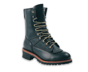 "'Work Zone' S950 - 9"" Logger Waterproof Steel Toe  Boot - Black"