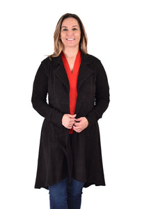 'Ethyl' 952023BK - Poly Suede Long Jacket - Black