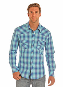 'Rock & Roll' B2S1149 - Snap Western Shirt - Turquoise / Blue