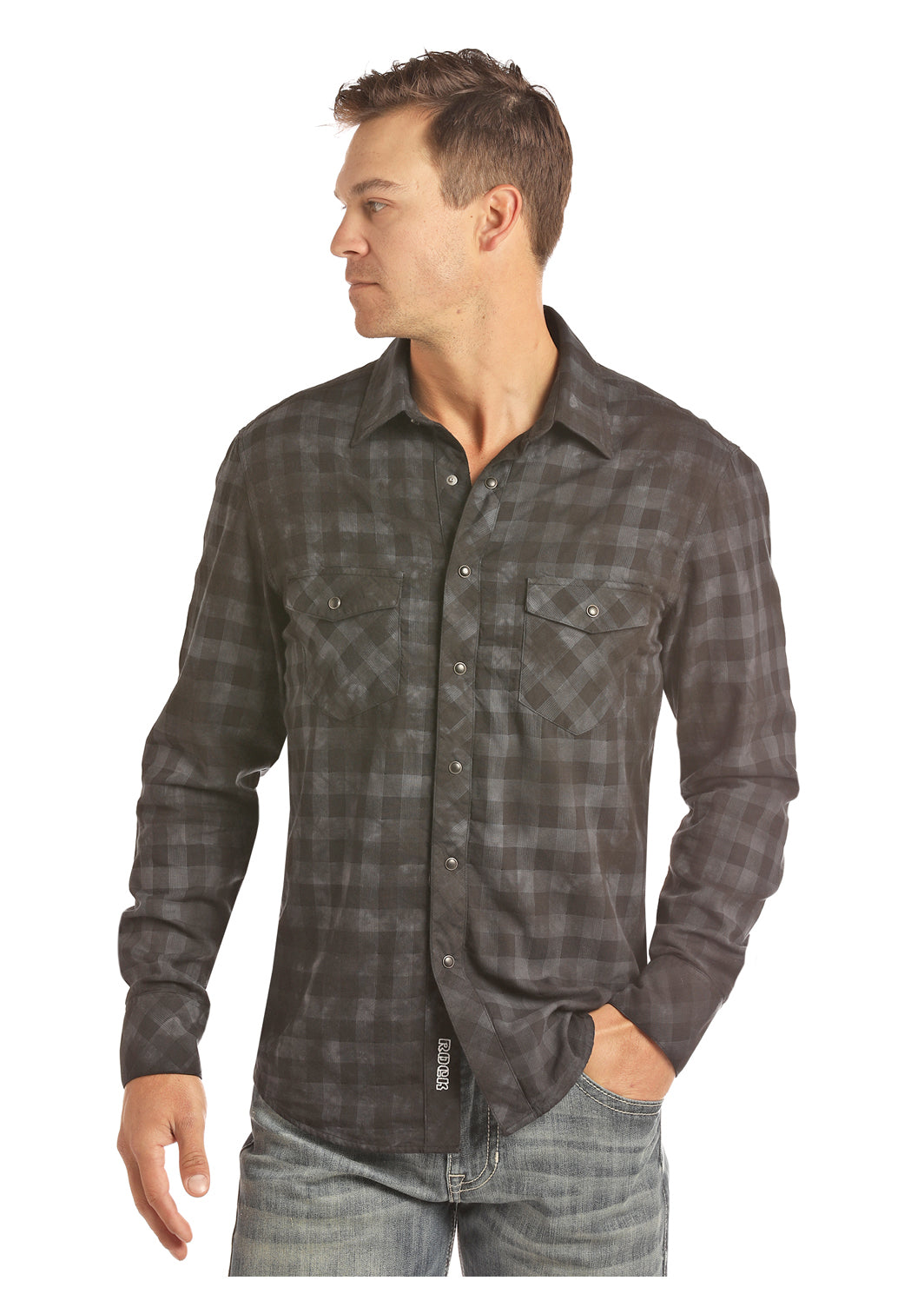 'Rock & Roll' B2S2302 -  LS Bleach Washed Plaid Snap - Black / Blue