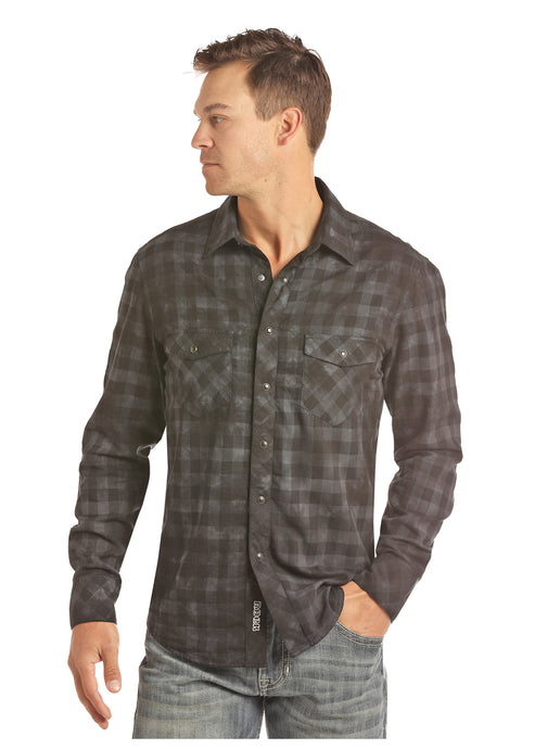 'Rock & Roll' Bleach Washed Western Plaid Snap - Black / Blue