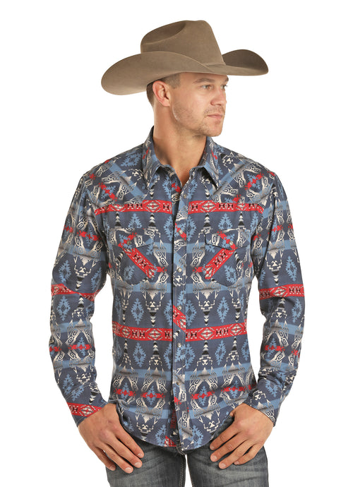 'Rock & Roll' B2S2328 - Men's Dale Brisby L/S Aztec Snap Shirt - Aztec