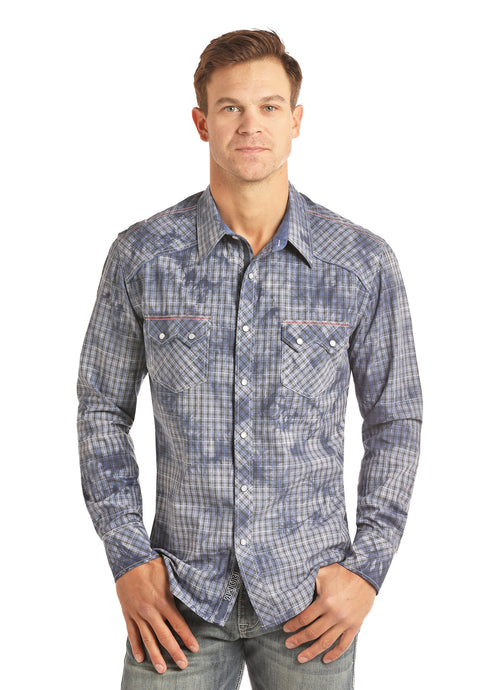 'Rock & Roll' Spray Washed Satin Western Plaid Snap - Blue