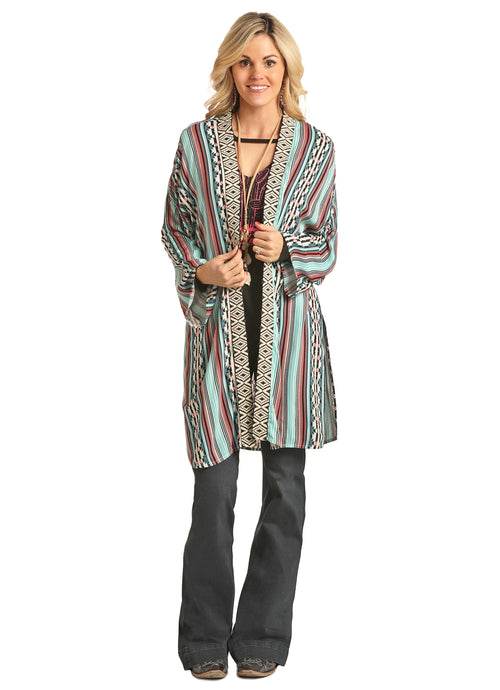'Rock & Roll' B4K2052 99 - Jr. Neck Trim Kimono - Multi