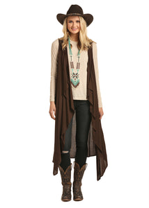 'Rock & Roll Cowgirl' Jr. Cascade Front Vest - Brown