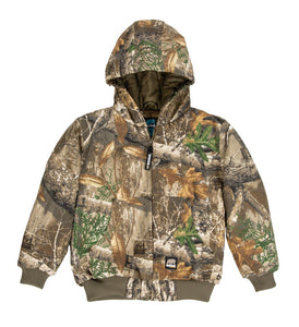 'Berne' Youth Washed Hooded Jacket - Realtree Edge