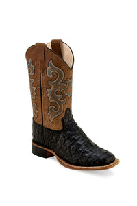 'Old West' Child's Western Caiman Square Toe - Black / Tan