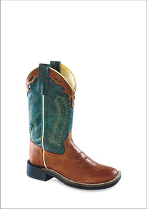 "'Old West' Child's 9"" Western Square Toe - Cognac / Teal"