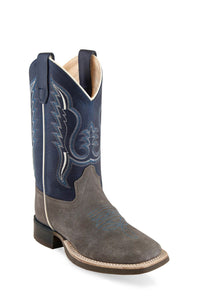 "'Old West' Youth 11"" Western Square Toe - Grey / Blue"