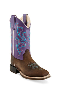 "'Old West' Youth 10.5"" Girls' Purple Western - Brown / Purple"