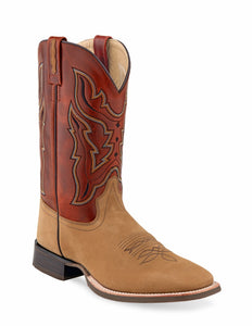 "'Old West' Men's 9"" Western Square Toe - Tan / Red"
