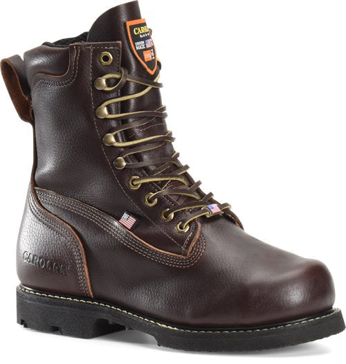 "'Carolina' CA518 - Men's 8"" INT 2.O EH MET Broad Toe Winged Boot - Brown"