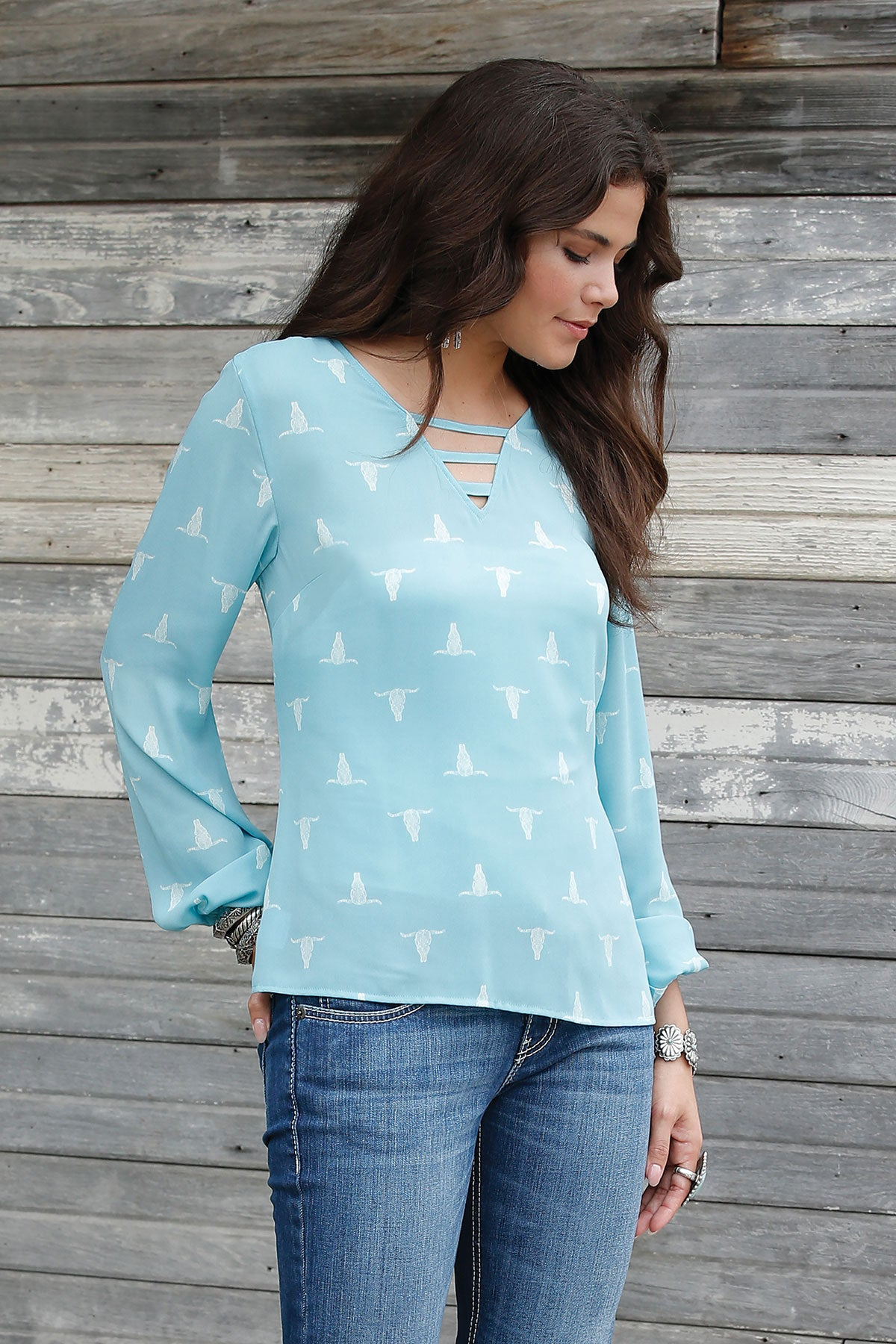 'Cruel' Women's Western Steer Head Print Blouse - Light Blue