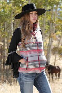'Cruel Girl' CWV7091003 - Women's Blanket Stripe Tweed Vest - Red / Gray