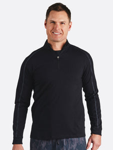 'TASC' Men's Carrollton 1/4 Zip Tee - Black / Gunmetal