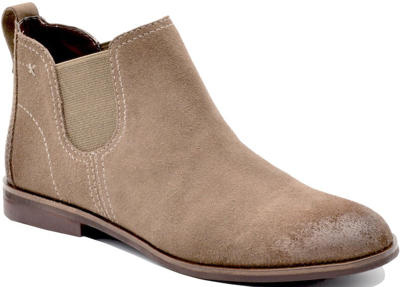 'Bussola' Cat - Women's Chelsea Boot - Taupe Hydra Suede