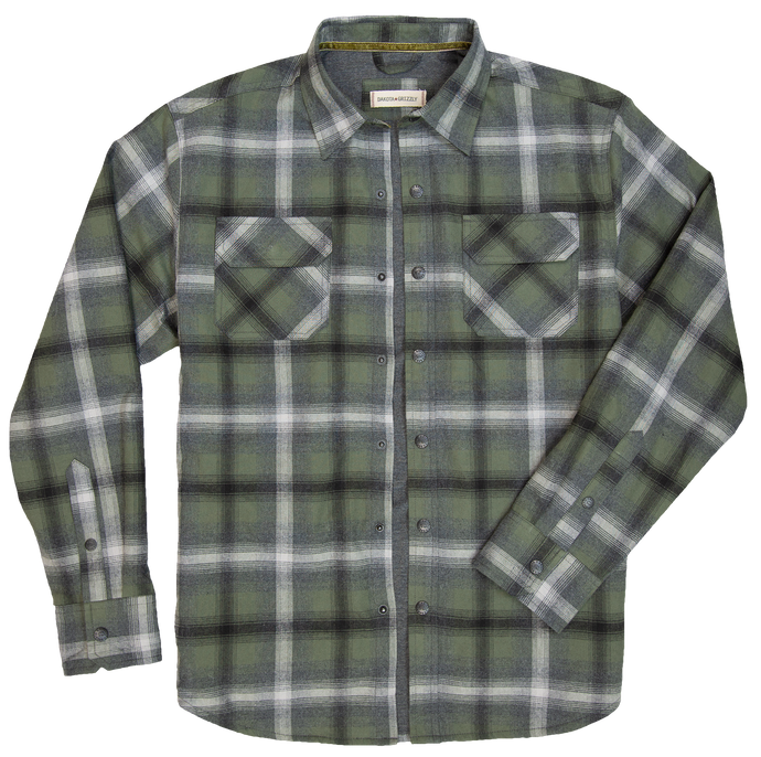 'Dakota Grizzly-Shayne' Men's Thermal Lined Snap Flannel - Mineral