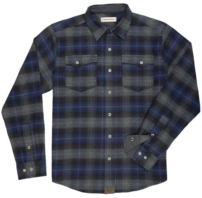 'Dakota Grizzly-Riley' Men's Snap Front Flannel - Midnight