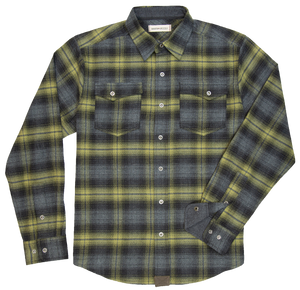 'Dakota Grizzly-Riley' Men's Snap Front Flannel - Moss