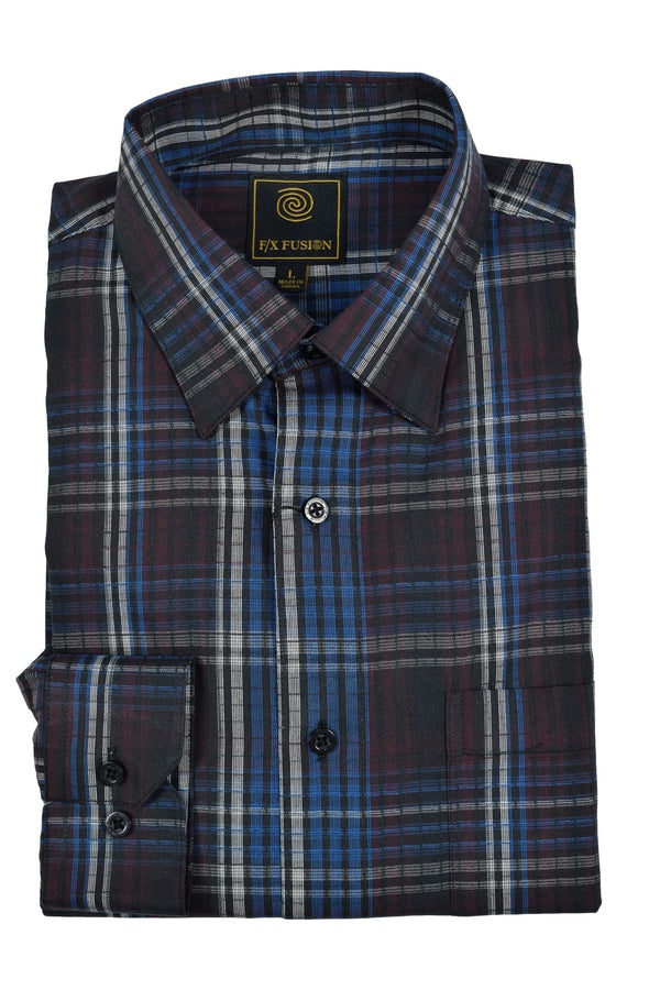 'F/X Fusion' Men's Plaid Button Down - Burgundy / Royal