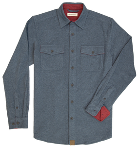 'Dakota Grizzly-Major' Men's Chamois Button Down - Cadet Heather