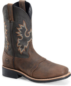 "'Double H' Men's 11"" Victor Wide Square Steel Toe Roper - Brown / Black"