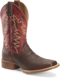 "'Double H' Men's 12"" Clifton Square Toe Roper - Buckskin/Red"