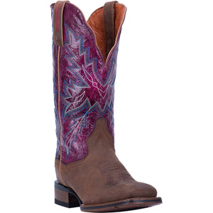 "'Dan Post' Women's 12"" Pasadena Western Square Toe - Tan / Purple"