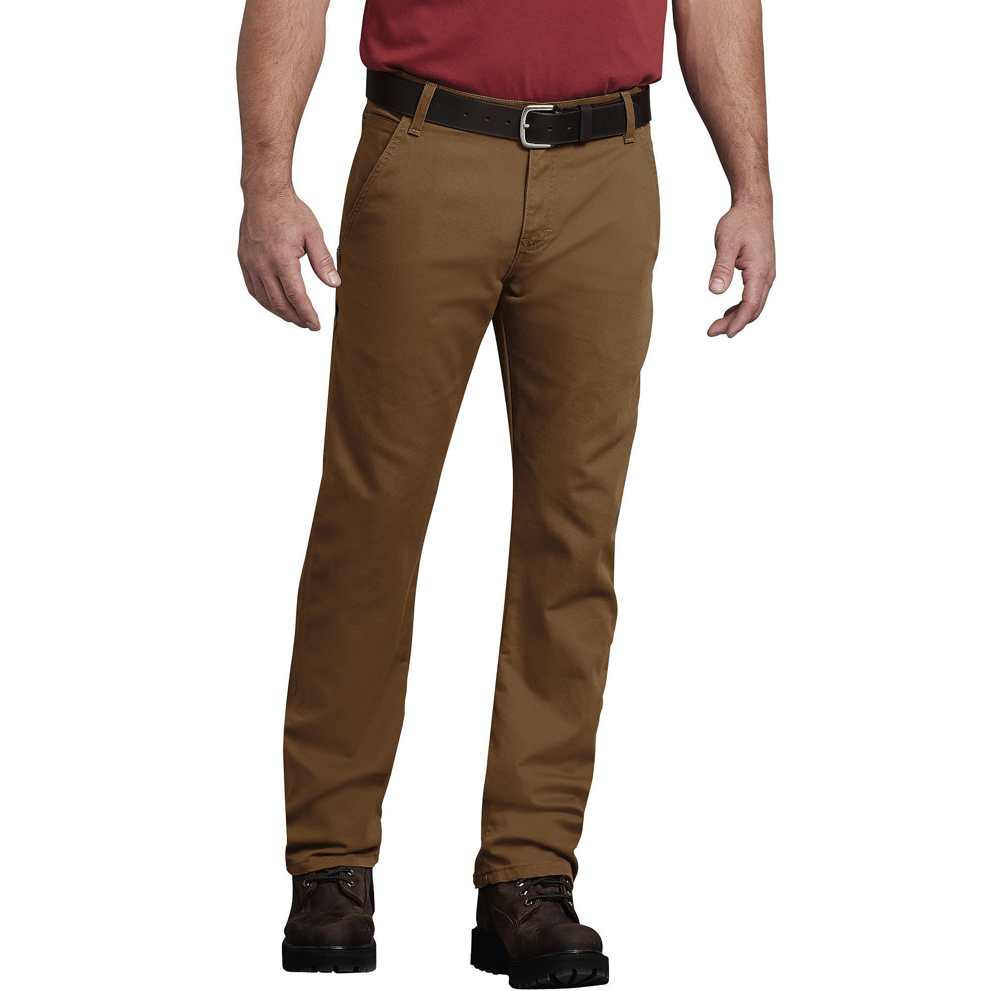 'Dickies' Flex Regular Fit Straight Leg Tough Max™ Duck Carpenter Pants - Stonewashed Brown Duck