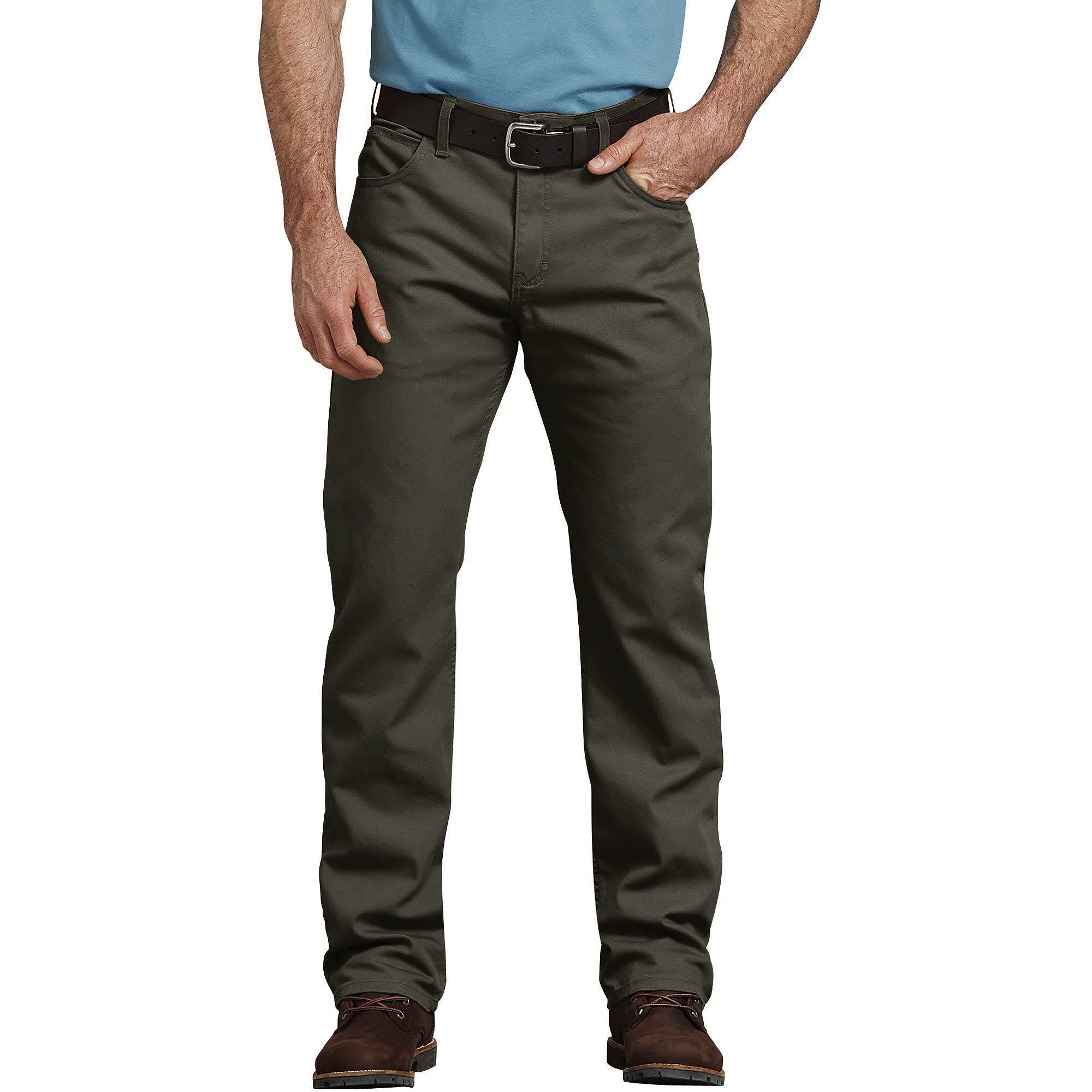 'Dickies' Tough Max Regular Fit Duck 5-Pocket Pant - Stonewashed Moss Green