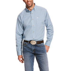 'Ariat' Men's Pro Adamson Stretch Classic Fit Button Front - Blue Plaid