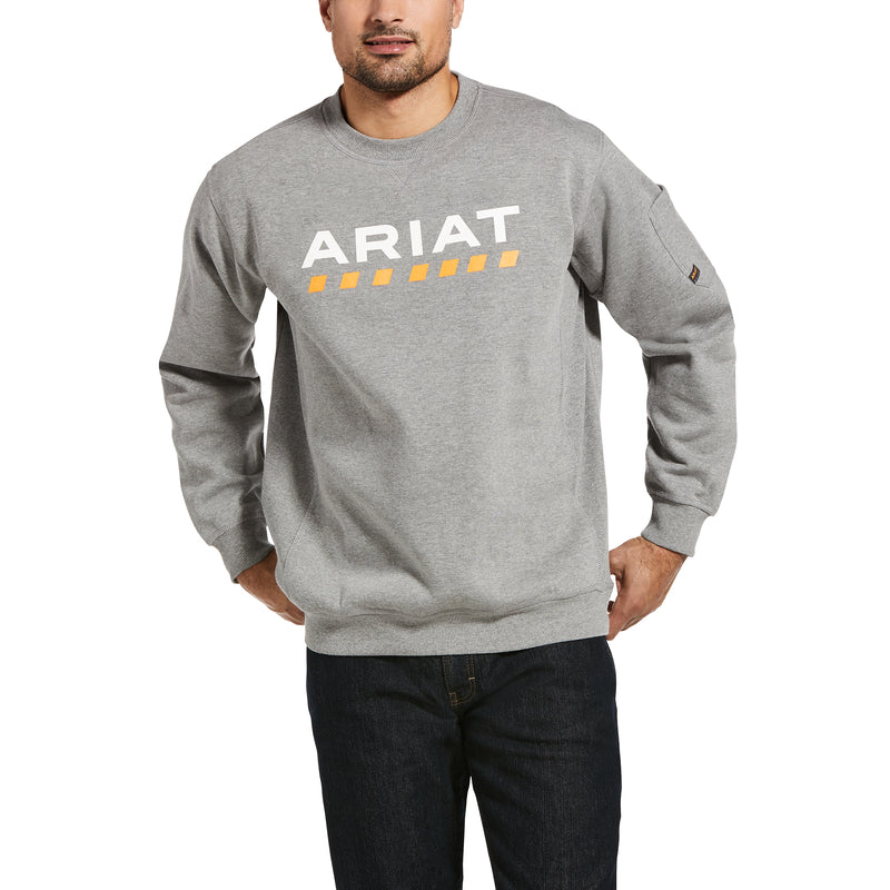 'Ariat' Men's Rebar Workman Logo Sweatshirt - Heather Grey