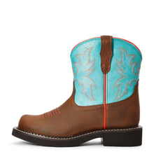"'Ariat' Youth 6"" Cowpoke Fatbaby Western - Dark Brown / Turquoise"