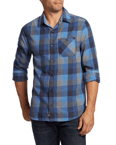 'Flag & Anthem' Men's Jamesport Flannel Button Down - Blue Heather
