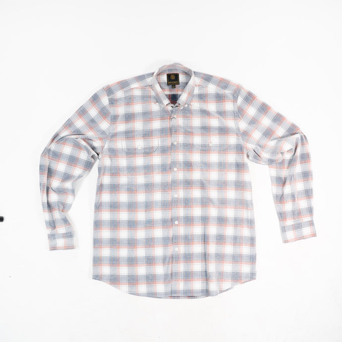'F/X Fusion' Men's Washed Corduroy Plaid Button Front - Rust / Navy