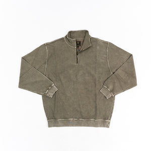 'F/X Fusion' Men's Enzyme Washed 1/4 Zip Mock Neck Pullover - Eco Taupe