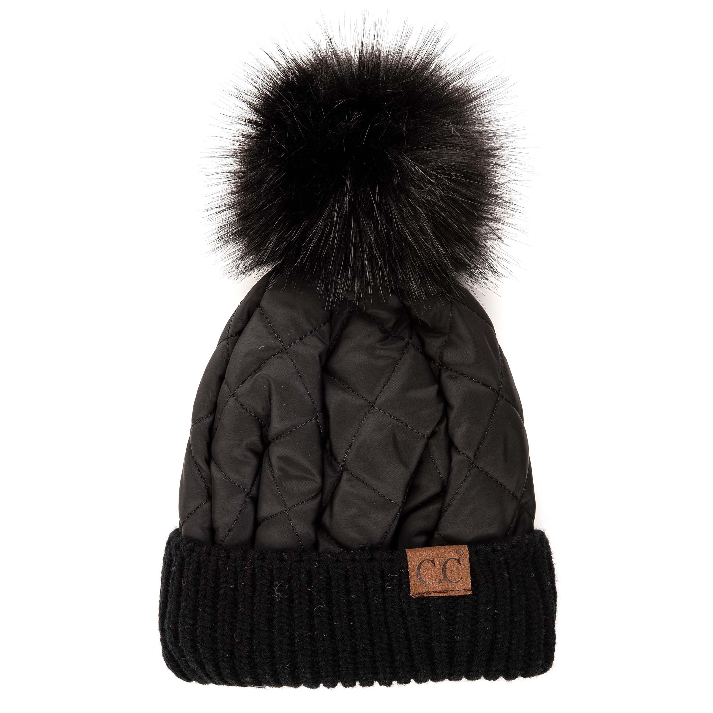 'C.C®' Quilted Puffer Beanie - Black